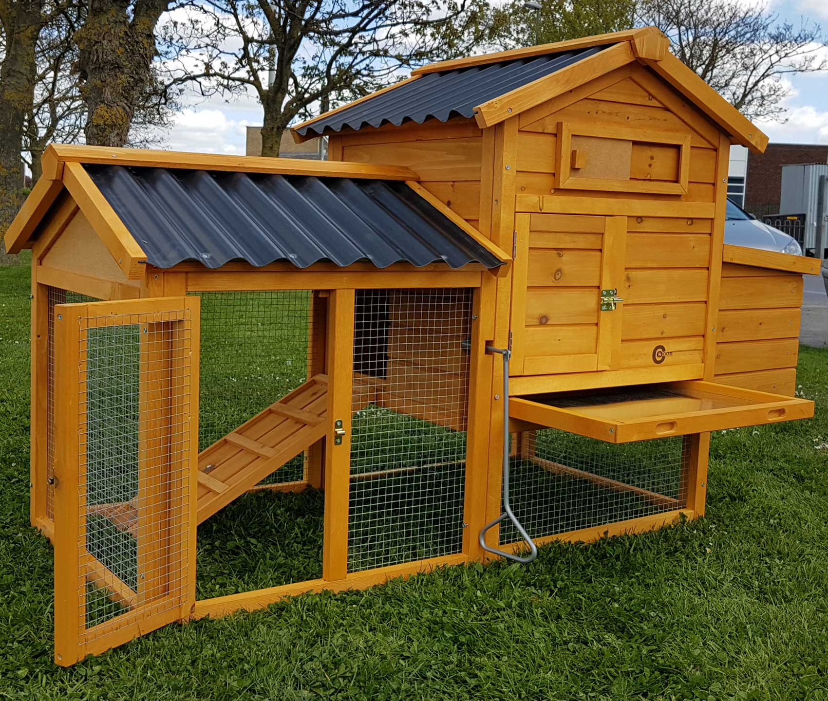 Chicken coop run hen house poultry ark home nest box coup for Maintenance free chicken coop